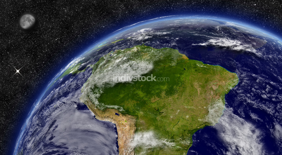 South America on planet Earth. Elements of this image furnished by NASA.