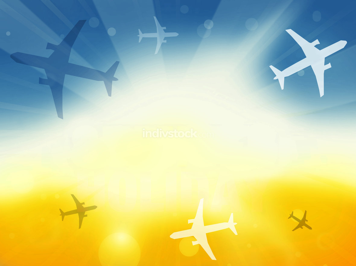 Summer Time Plane Flight Travel Background