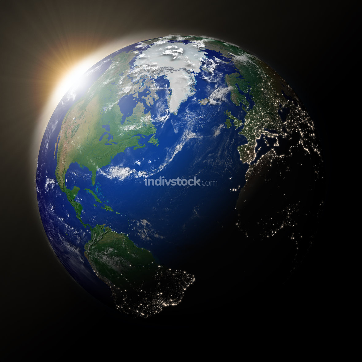 Sun over North America on planet Earth. Elements of this image furnished by NASA.