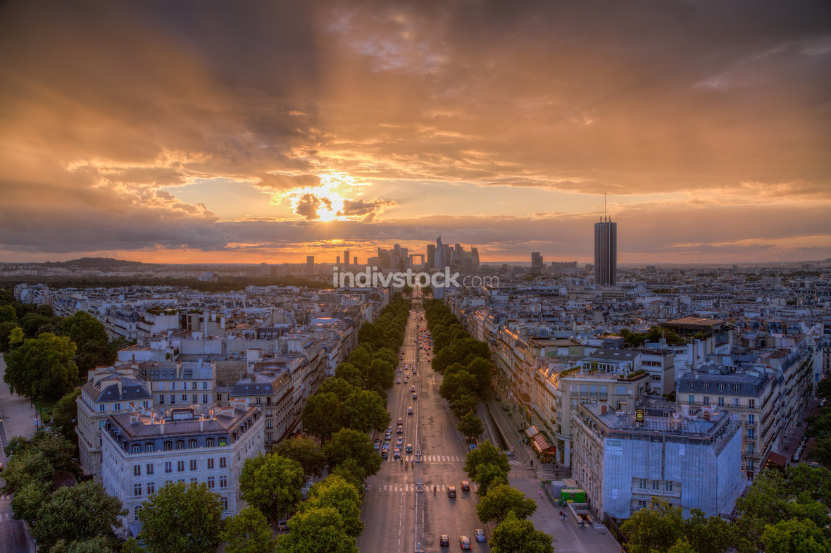 Sunset over La Defense, Paris