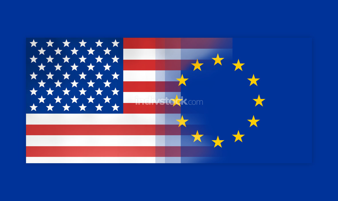 USA and Europe flags background concept