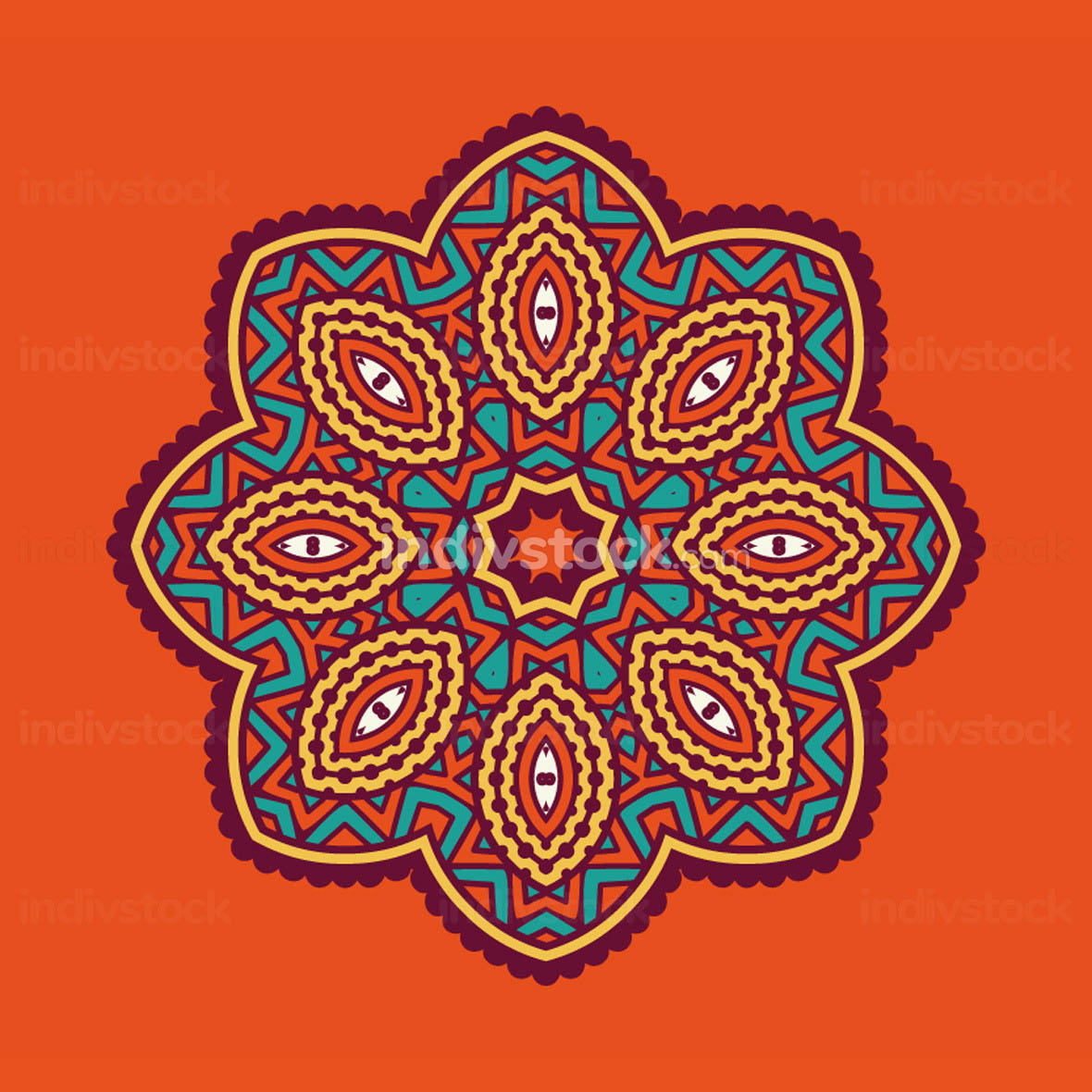 colored circular ornament in Oriental style