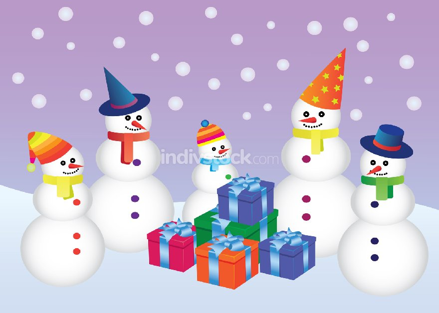 five snowmen with presents
