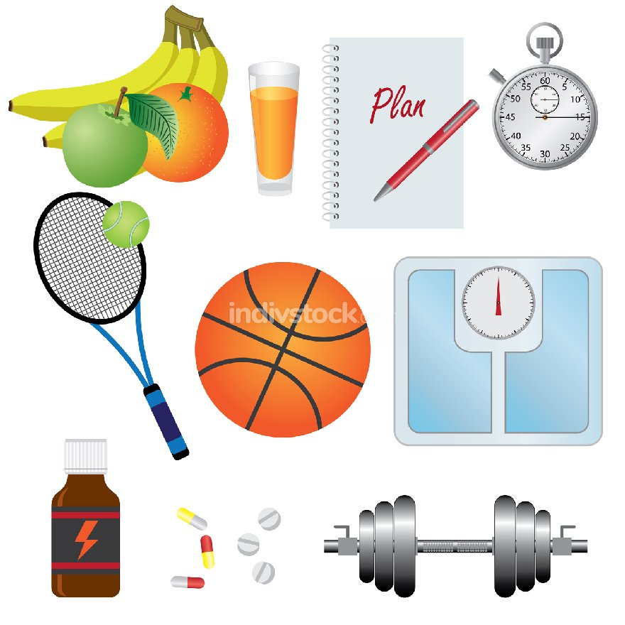 Set of objects for fitness.