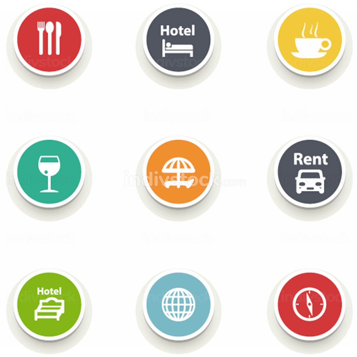 set of round icons.