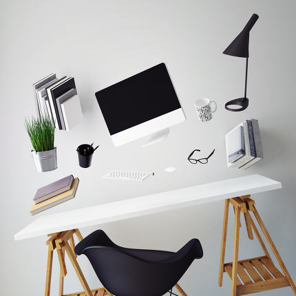 3D illustration of modern computer template, workspace mock up, background