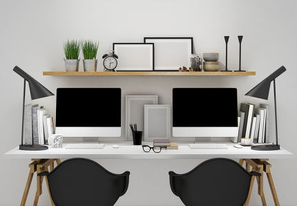 3D Render Modern workspace for two template, mock up background