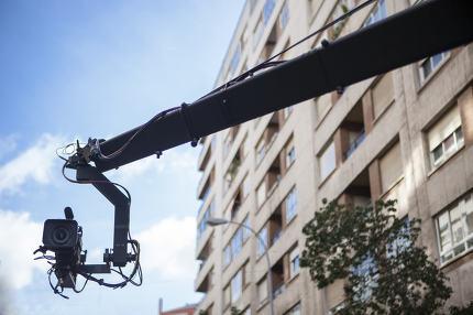 Camera crane on street