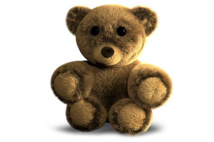 cute fluffy stuffed bear 3d render illustration