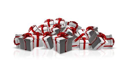 weiße Weihnachtsgeschenke mit roten Schleifen 3D Render