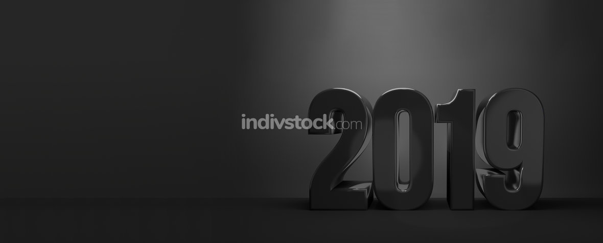 2019. new year 2019 3d render