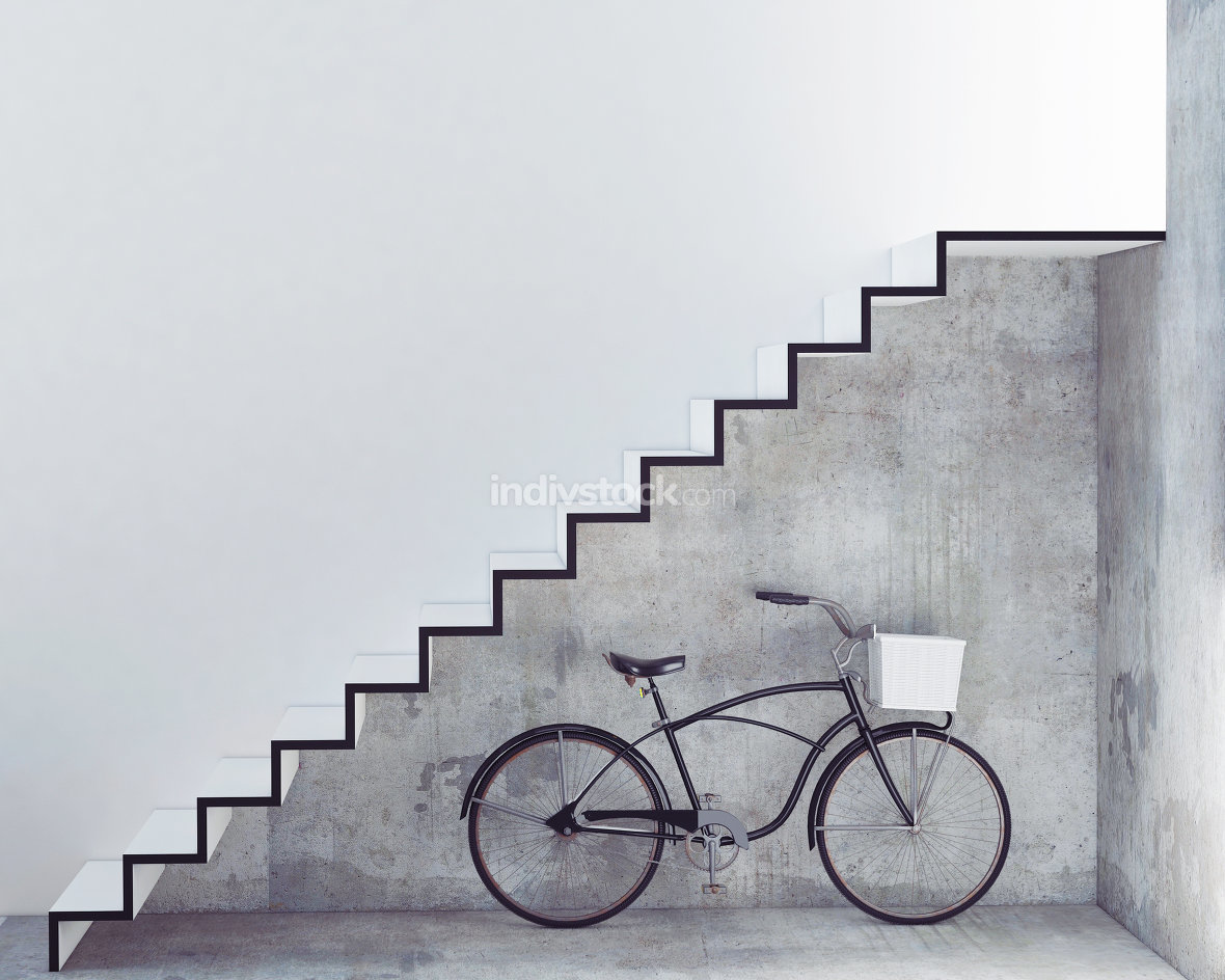 3D Render Retro bicycle with basket in front of the interior concrete wall, background
