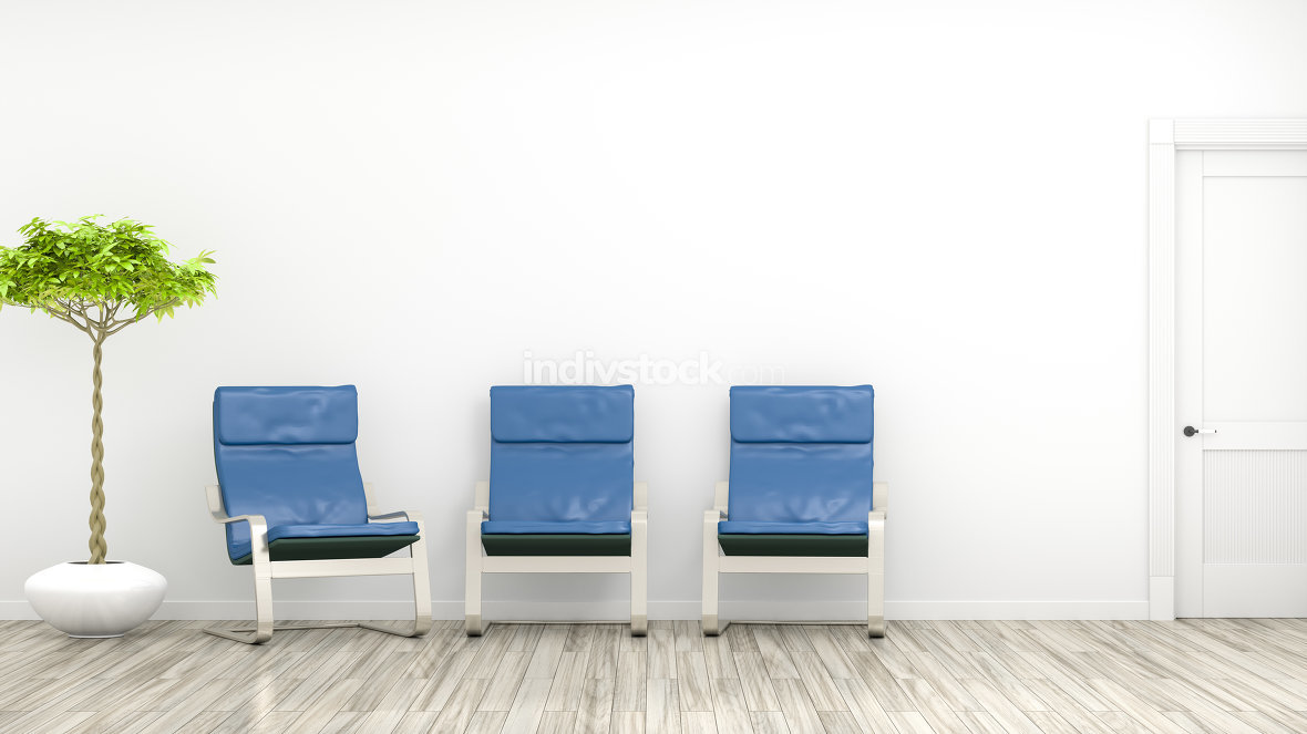 3d rendering of a room with three blue chairs