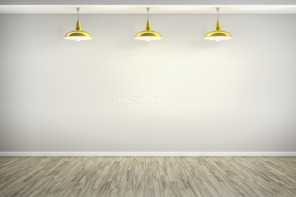 3d rendering of a room with three golden lamps