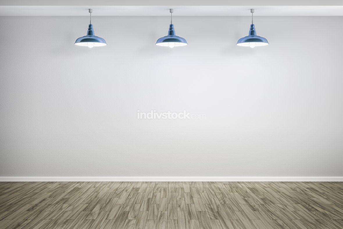 3d rendering of a room with three lamps