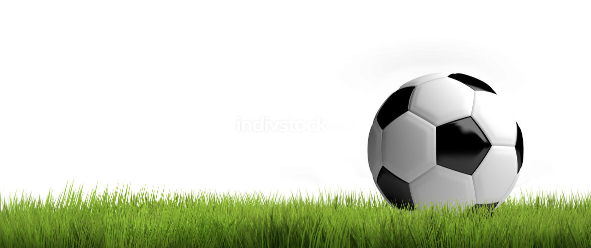 ball football soccer green grass 3d render
