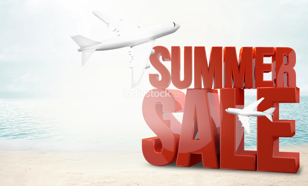 big sale airplane summer beach holiday 3d render