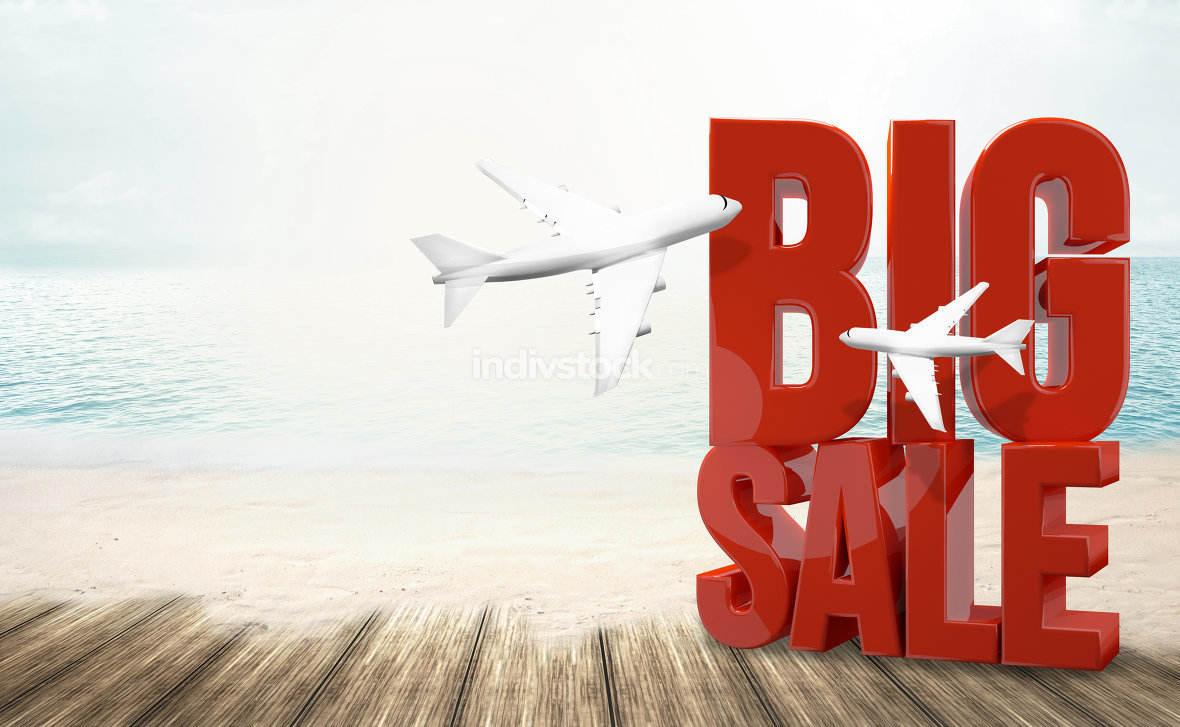 big sale holiday beach travel 3d render