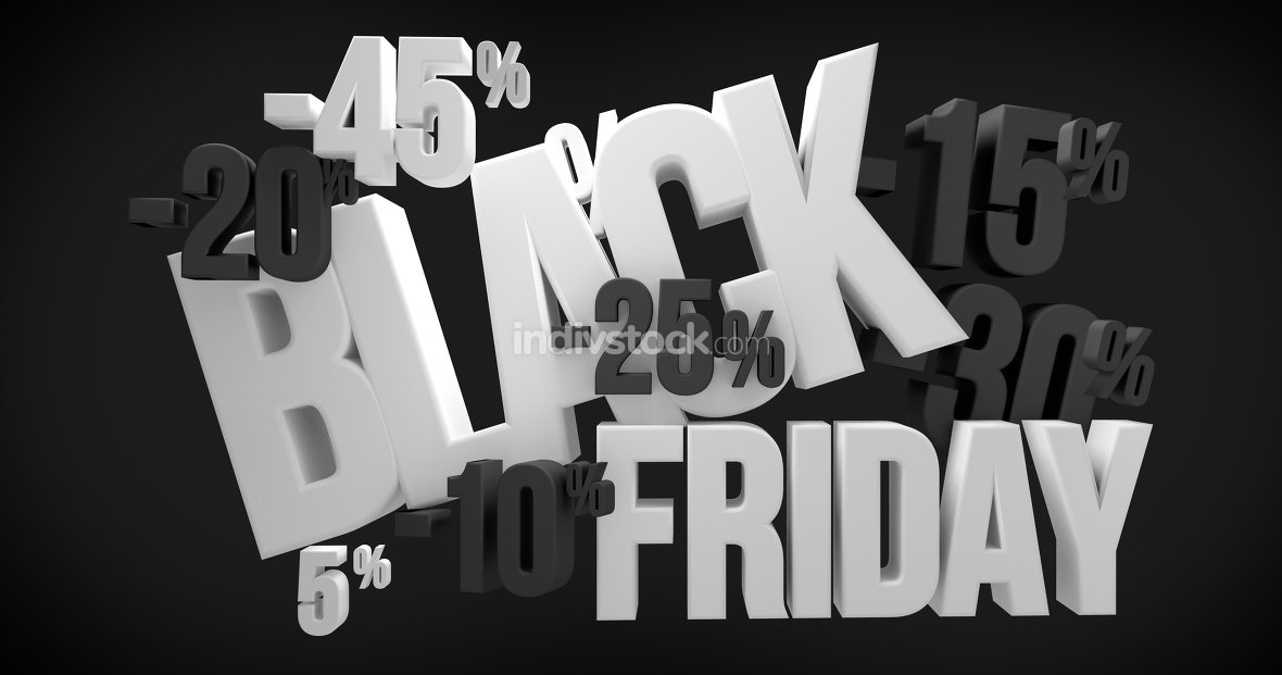 Black Friday. black friday sale 3d render