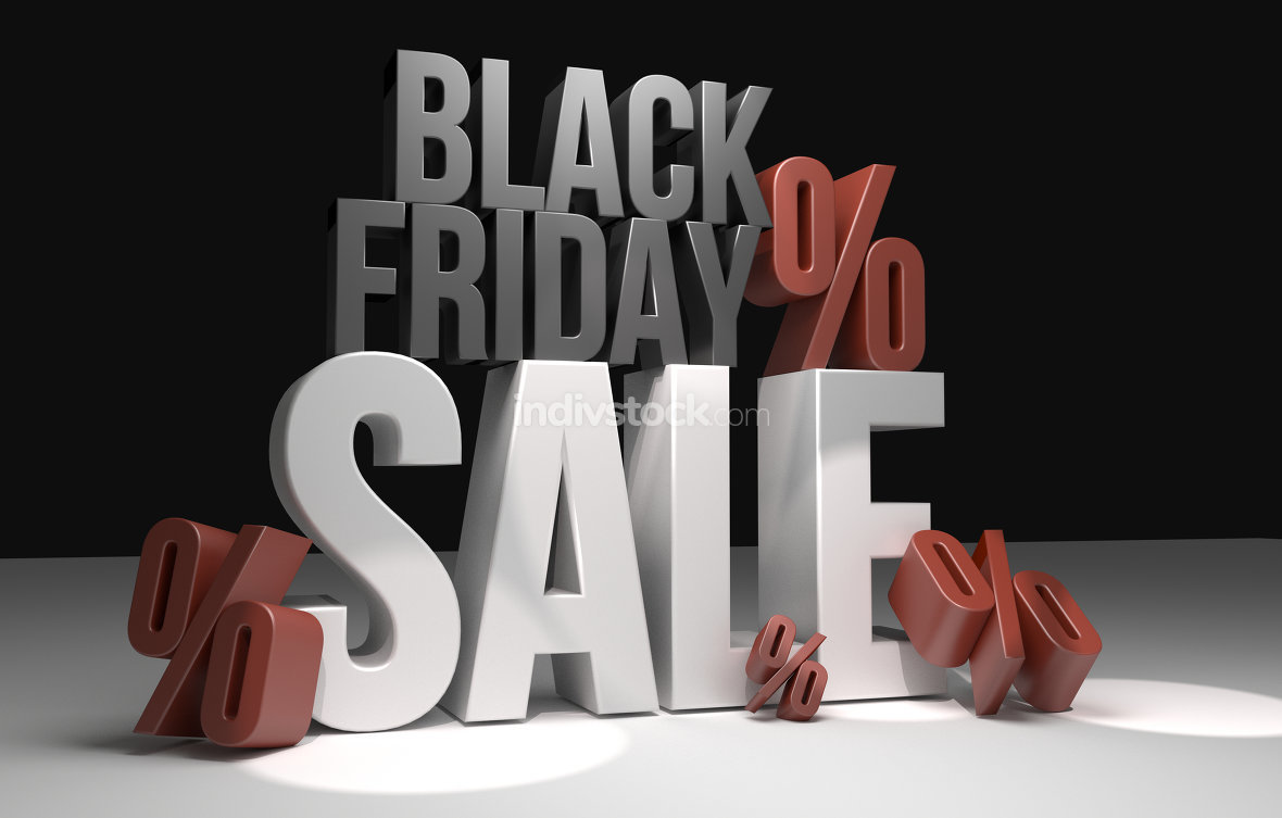 black friday sale black friday shopping 3d render