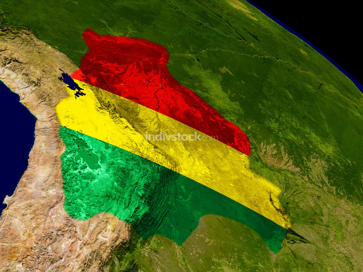 Bolivia with flag on Earth