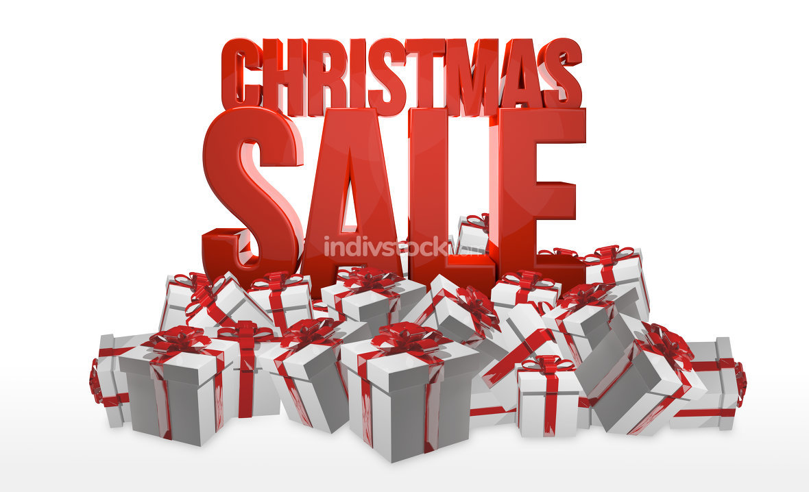 christmas sale. A bunch of gifts. 3d render