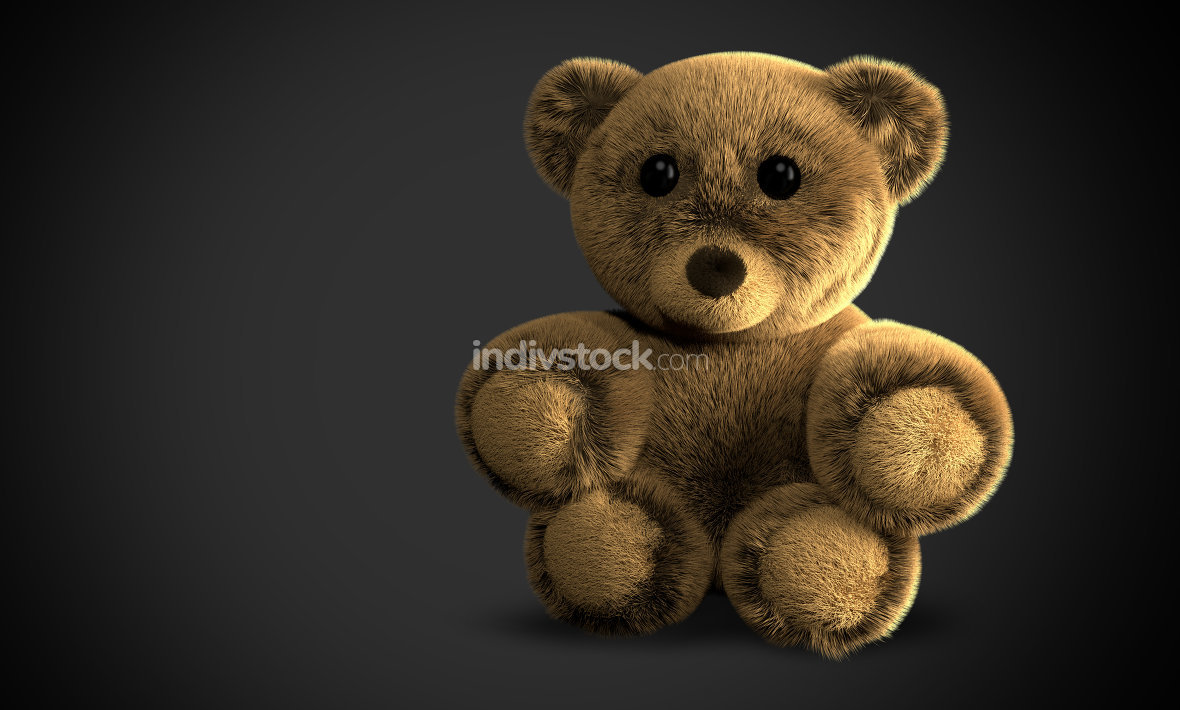 cute fluffy stuffed bear 3d illustration