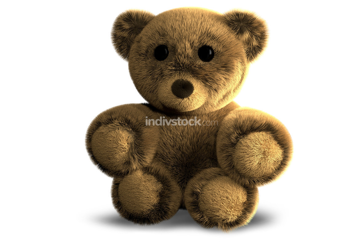 cute fluffy stuffed bear 3d render illustration