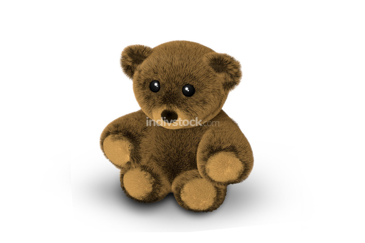 Cute Teddy Bear 3D Render
