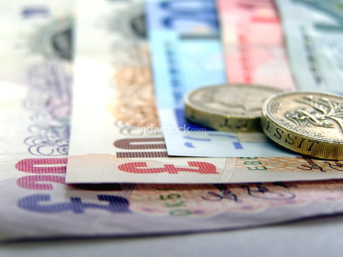 Detail of Euro and Pounds money currency