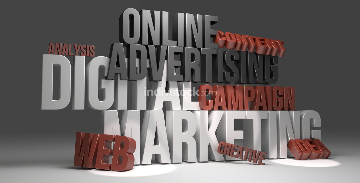 Digital Marketing online advertising 3D render