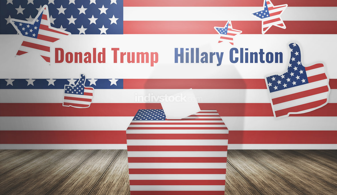 Donald Trump Hillary Clinton presidential election 3d render