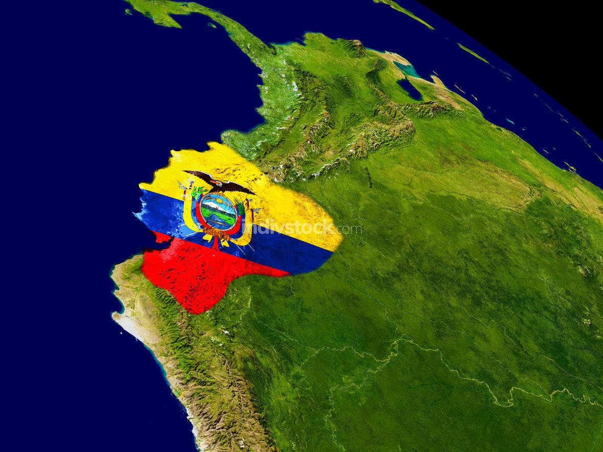 Ecuador with flag on Earth