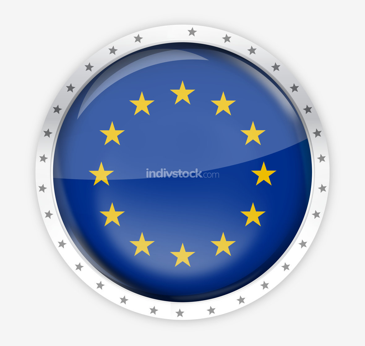 Europe round opacity button icon 3d render graphic isolated