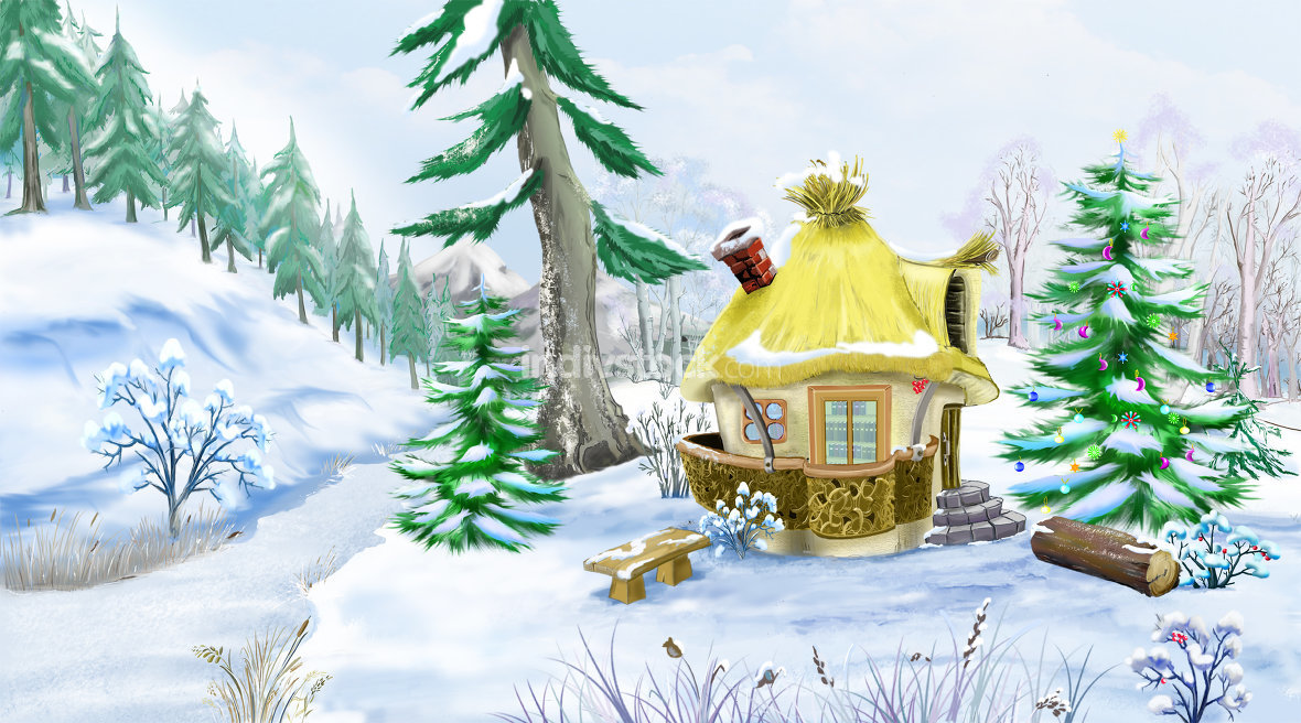 Fairy Tale House in a Winter Forest at  Christmas Eve