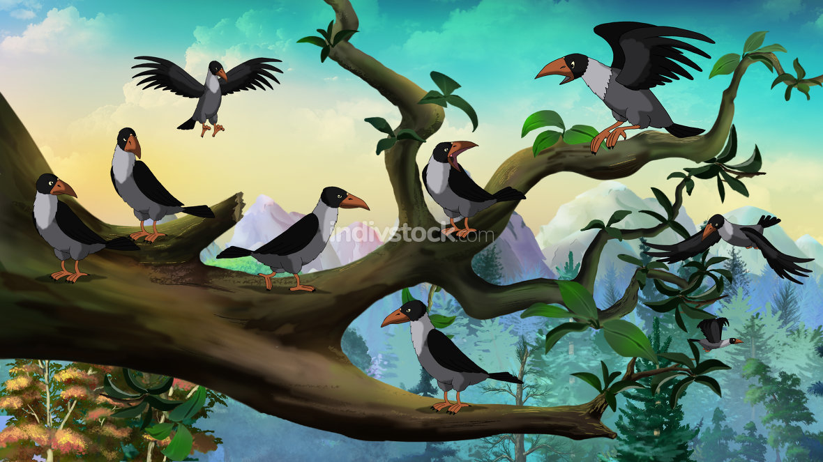 Flock of Crows Sitting on a Tree
