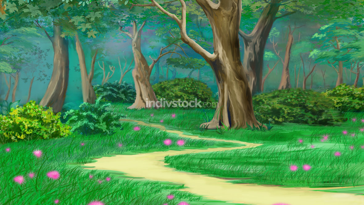 Footpath in a Fairy Tale Green Summer Forest