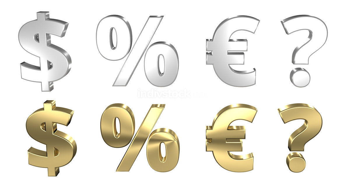 free download: dollar percentage euro question mark 3D render