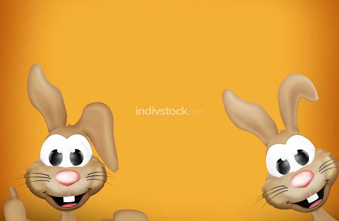 free download: festive orange two cute easter bunnys