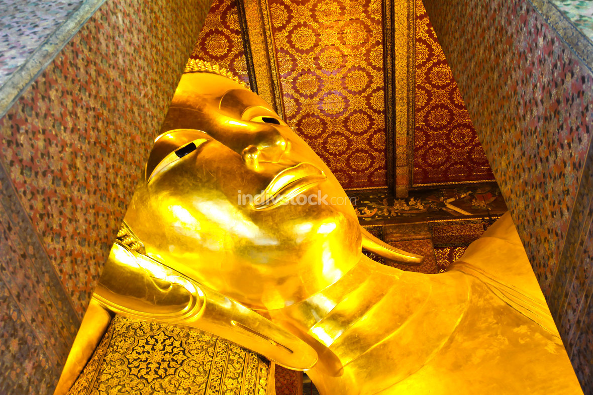 free download: Reclining Buddha gold statue face. Wat Pho, Bangkok, Thailand
