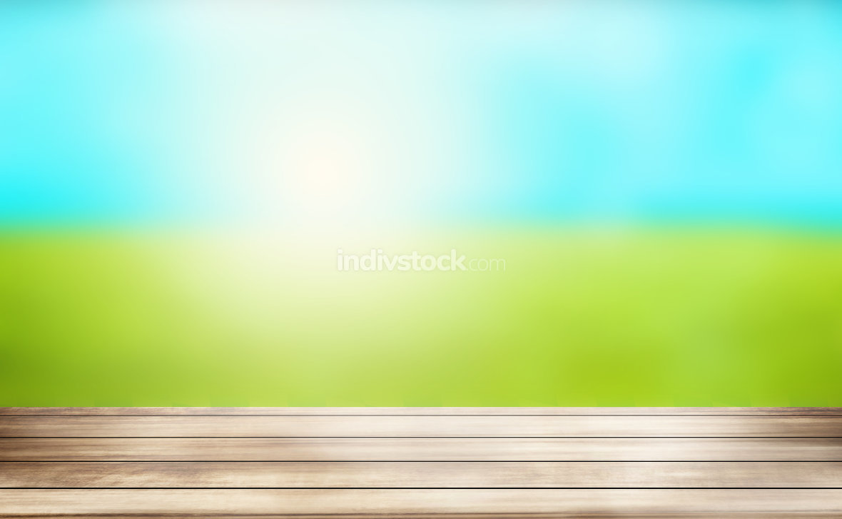 free download: sunny outdoor green wood background 3d render