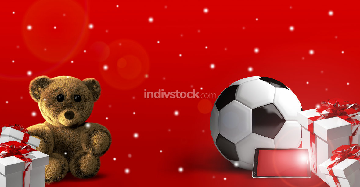 free download: teddy bear soccer ball and gifts 3d render
