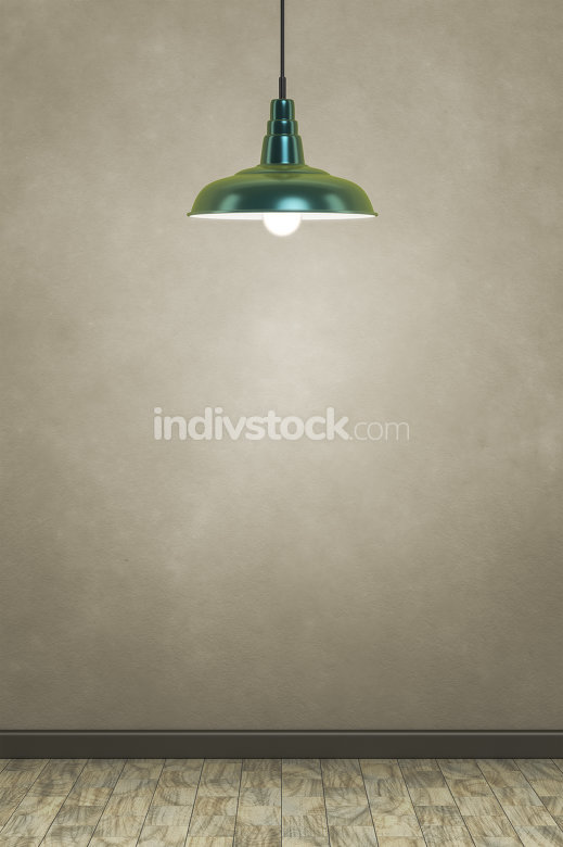 green lamp in front of a brown wall