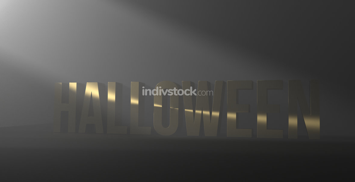 Halloween dark night golden 3d render font