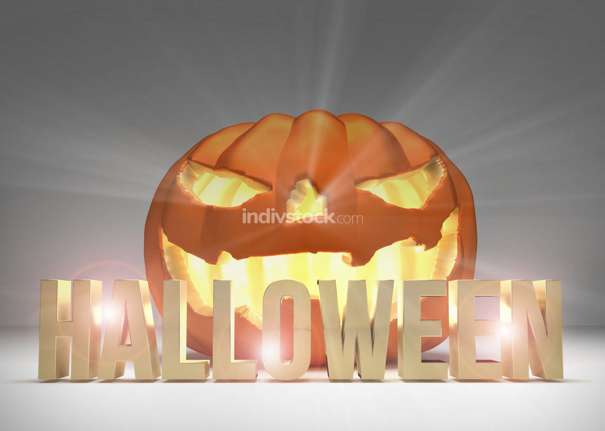 halloween pumpkin 3d render halloween golden pumpkin