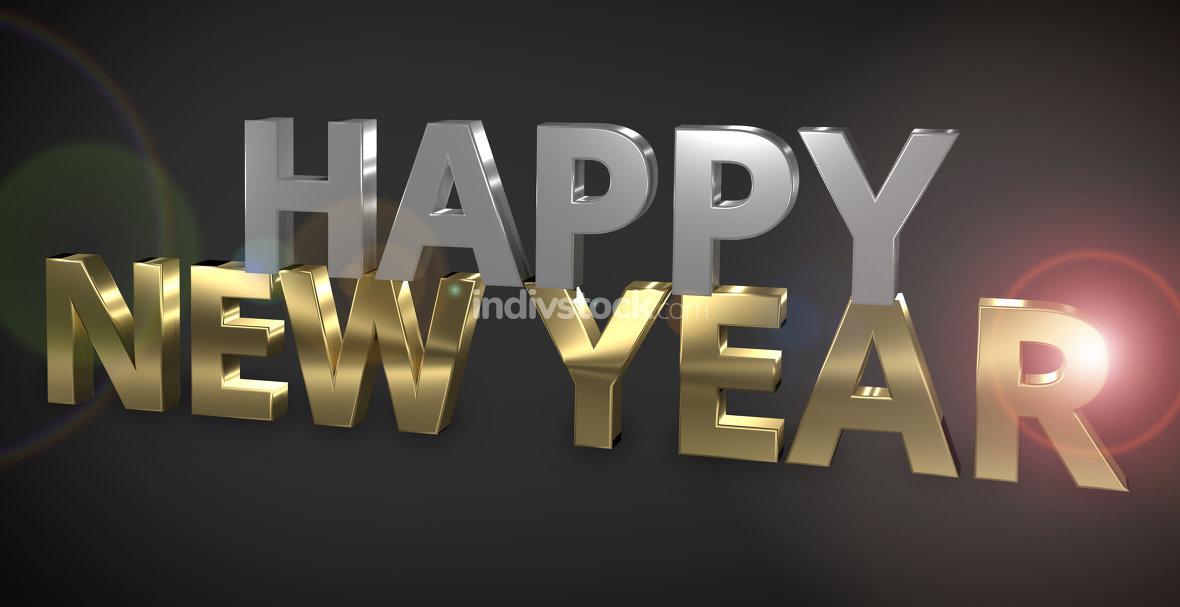 Happy New Year 3D Render golden