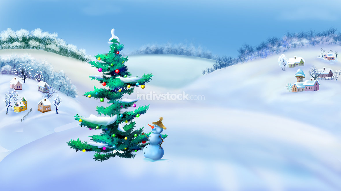 Landscape with Christmas Tree and Snowman