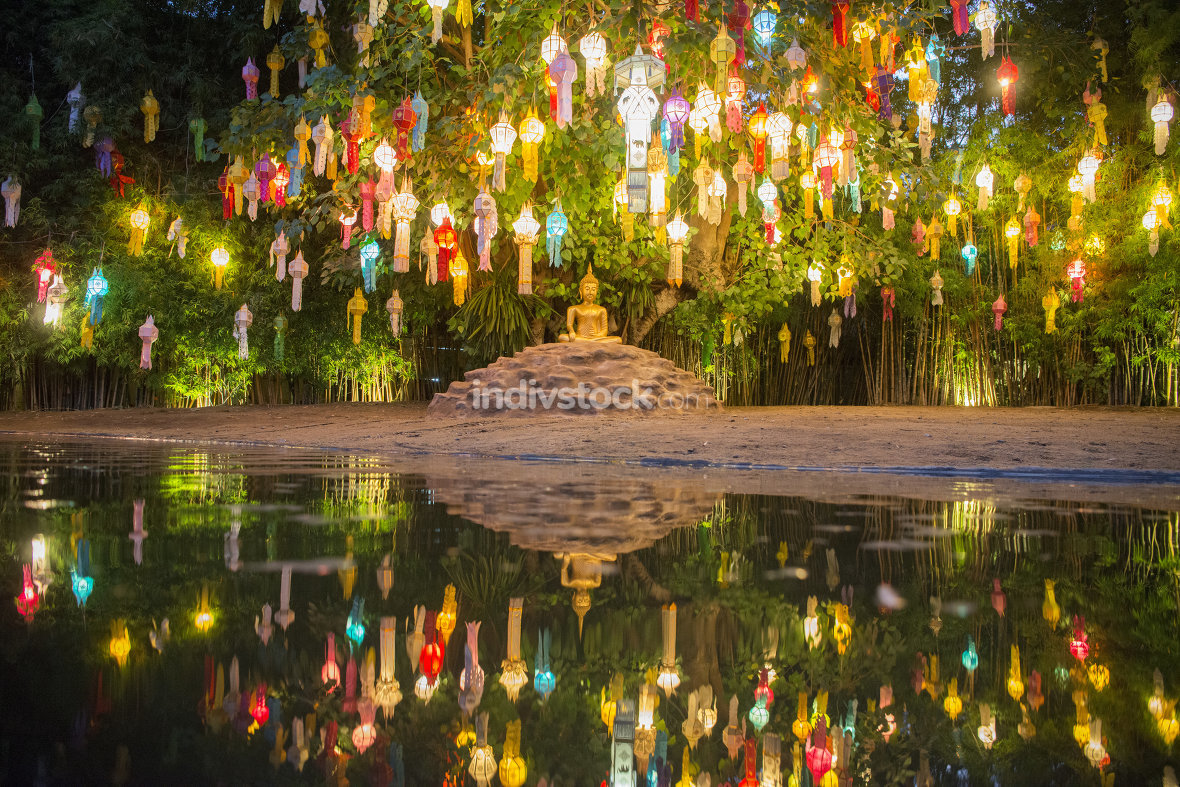 Lanterns at the Wat Phan Tao Temple at the Loy Krathong Festival in the city of Chiang Mai in North Thailand in Thailand in southeastasia.
