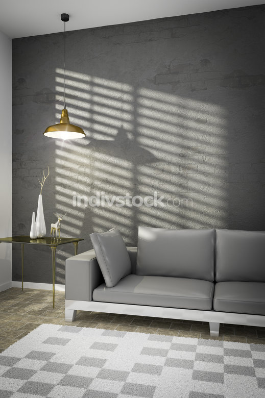 living room with a sofa and sunlight on the wall