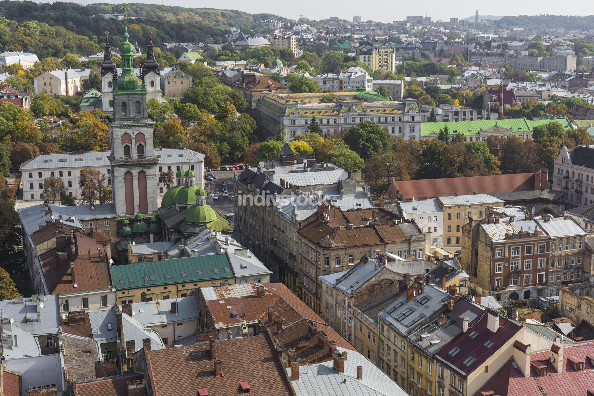 LVIV, UKRAINE - OCTOBER 02, 2016: Lviv City from above. Central